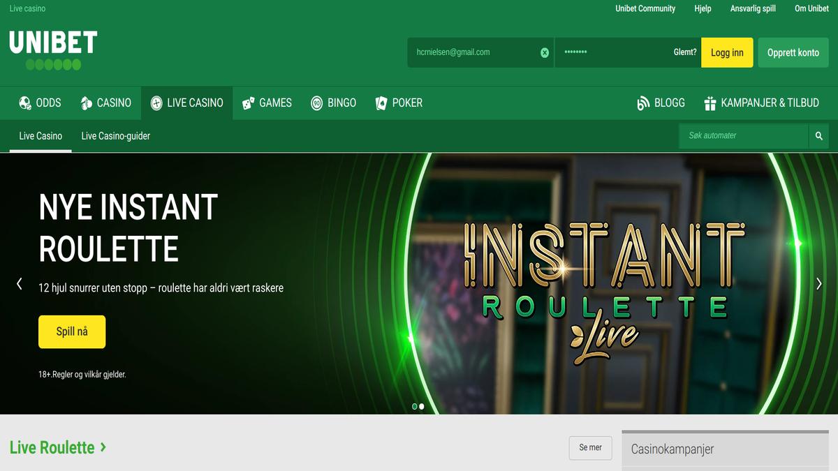 Test av Unibet Live Casino svindel
