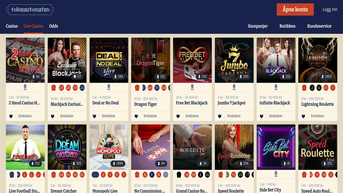 Test av Folkeautomaten Live Casino juks svindel omtale